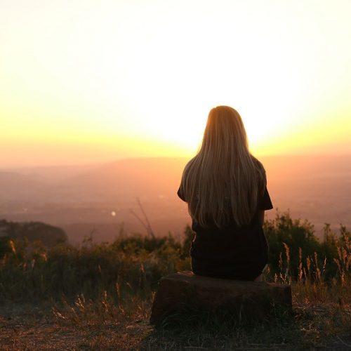 girl, sunset, freedom